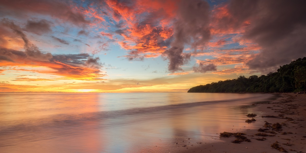 Colourful sunset on a beach of Borneo
