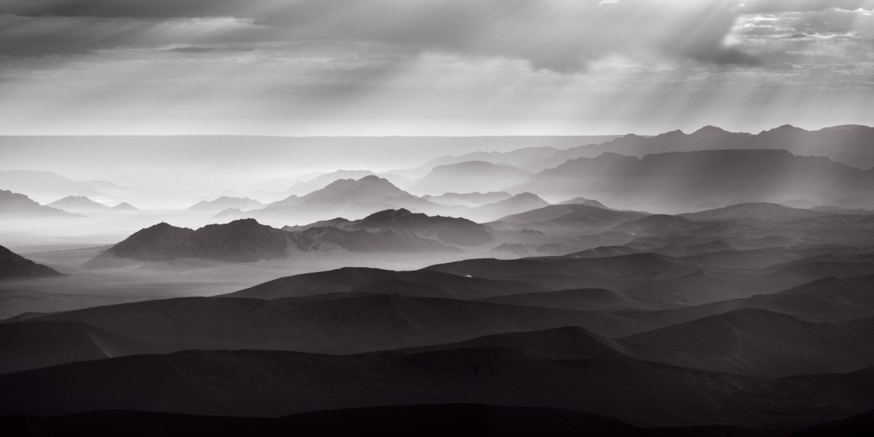Namibian desert from the air in black and white